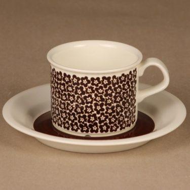 Arabia Faenza brown flower coffee cup designer Inkeri Seppälä
