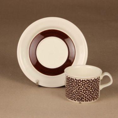 Arabia Faenza kukka kahvikuppi, ruskeakukka, suunnittelija Inkeri Seppälä, ruskeakukka, kukka, serikuva kuva 2
