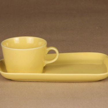 Arabia Kilta kuppi ja erikoislautanen, keltainen, suunnittelija Kaj Franck,