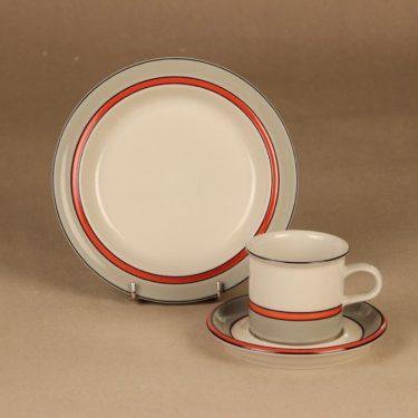 Arabia Aslak coffee cup, saucer and demitasse designer Inkeri Leivo