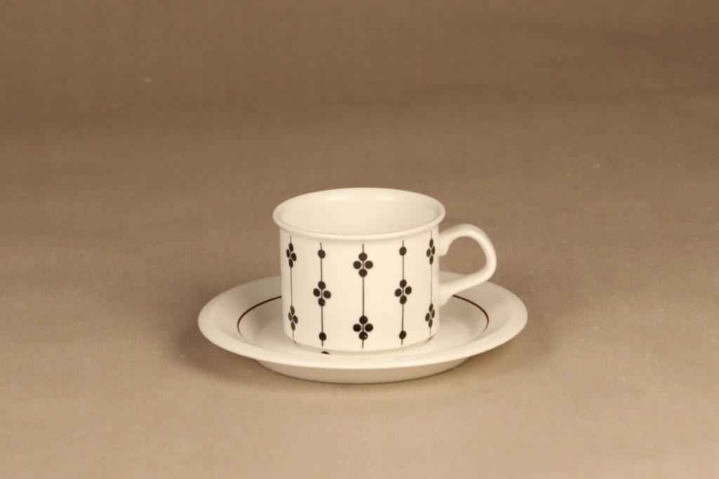 Arabia Kartano kahvikuppi, mustavalkoinen, suunnittelija Esteri Tomula, serikuva