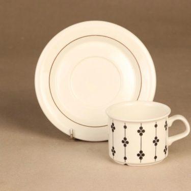 Arabia Kartano kahvikuppi, mustavalkoinen, suunnittelija Esteri Tomula, serikuva kuva 2