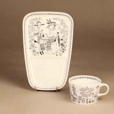 Arabia Emilia kahvikuppi ja erikoislautanen, 18 cl, suunnittelija Raija Uosikkinen, 18 cl, kuparipainokoriste kuva 2