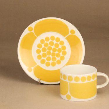 Arabia Sunnuntai teekuppi, keltainen, suunnittelija Birger Kaipiainen, serikuva, retro kuva 2