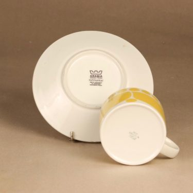 Arabia Sunnuntai teekuppi, keltainen, suunnittelija Birger Kaipiainen, serikuva, retro kuva 3