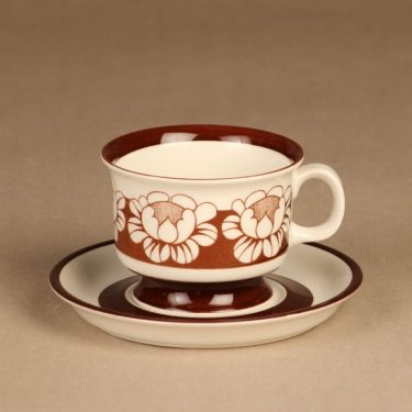 Arabia Katrilli kahvikuppi, ruskea, suunnittelija Esteri Tomula, serikuva