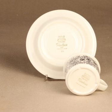 Arabia Krokus kahvikuppi, mustavalkoinen, suunnittelija Esteri Tomula, serikuva, kukka-aihe kuva 3