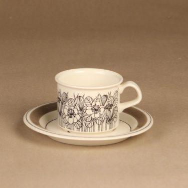 Arabia Krokus kahvikuppi, mustavalkoinen, harmaa, suunnittelija Esteri Tomula, serikuva, kukka-aihe