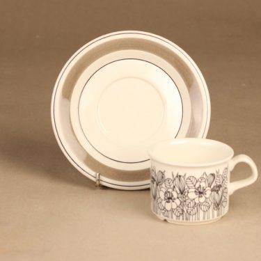 Arabia Krokus kahvikuppi, mustavalkoinen, harmaa, suunnittelija Esteri Tomula, serikuva, kukka-aihe kuva 2