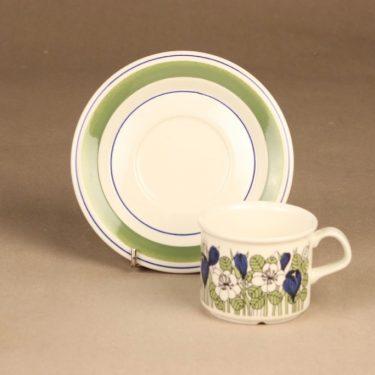 Arabia Krokus kahvikuppi ja lautaset, vihreä, suunnittelija Esteri Tomula, serikuva, kukka-aihe kuva 3