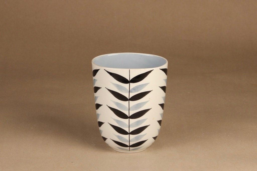 Arabia maljakko, käsinmaalattu, suunnittelija Olga Osol, käsinmaalattu, soikea, retro
