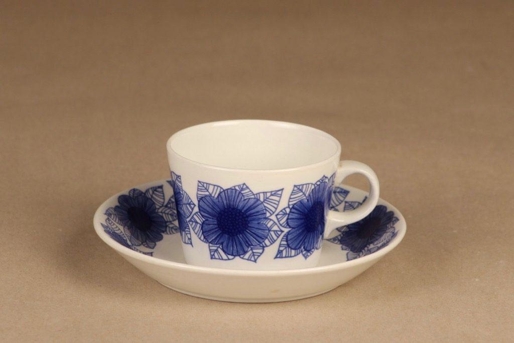 Arabia Malva kahvikuppi, sininen, suunnittelija Esteri Tomula, serikuva