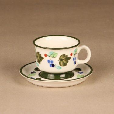 Arabia Palermo kahvikuppi ja lautaset, käsinmaalattu, suunnittelija Dorrit von Fieandt, käsinmaalattu, signeerattu kuva 2
