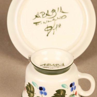 Arabia Palermo kahvikuppi ja lautaset, käsinmaalattu, suunnittelija Dorrit von Fieandt, käsinmaalattu, signeerattu kuva 4