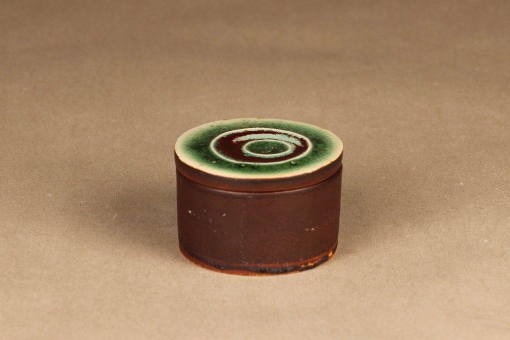 Arabia Ornamentti rasia, käsinmaalattu, suunnittelija Annikki Hovisaari, käsinmaalattu, kannellinen, signeerattu