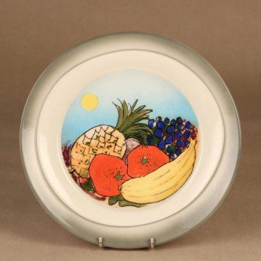 Arabia Tuuli lautanen, Etelän hedelmät, suunnittelija Heljä Liukko-Sundström, Etelän hedelmät, serikuva, hedelmä