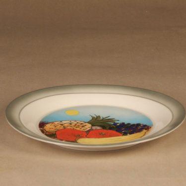 Arabia Tuuli lautanen, Etelän hedelmät, suunnittelija Heljä Liukko-Sundström, Etelän hedelmät, serikuva, hedelmä kuva 2
