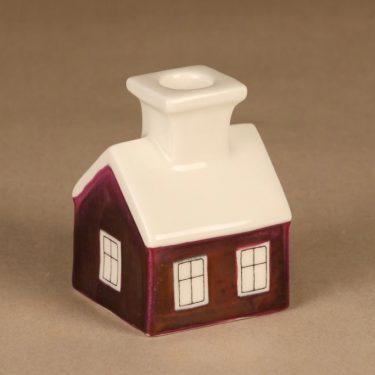 Arabia HLS kynttilänjalka, punainen, suunnittelija Heljä Liukko-Sundström, talo