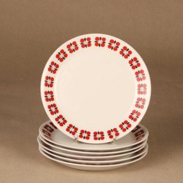 Arabia Eveliina lautanen, 6 kpl, suunnittelija Esteri Tomula, 6 kpl, kukka, retro