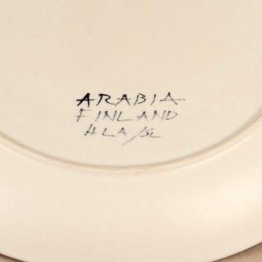 Arabia Kuutamo tarjoilulautanen, käsinmaalattu, suunnittelija Hilkka-Liisa Ahola, käsinmaalattu, käsinmaalattu, signeerattu kuva 3