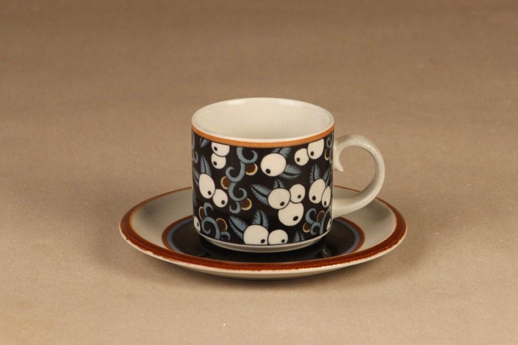 Arabia Taika kahvikuppi, suunnittelija Inkeri Seppälä, puhalluskoriste, retro