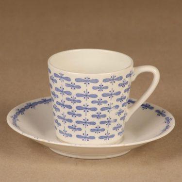 Arabia Perho kahvikuppi, valkoinen, sininen, suunnittelija Raija Uosikkinen, perhonen