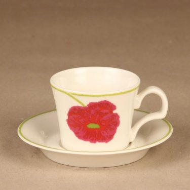 Arabia Illusia coffee cup, red designer Fujiwo ishimoto