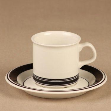 Arabia Faenza raita espressokuppi, mustaraita, suunnittelija Inkeri Seppälä, mustaraita, serikuva, raitakoriste