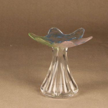 Riihimäen lasi Kukkainen maljakko, signeerattu, suunnittelija Helena Tynell, signeerattu