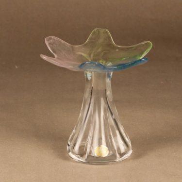 Riihimäen lasi Kukkainen maljakko, signeerattu, suunnittelija Helena Tynell, signeerattu kuva 2