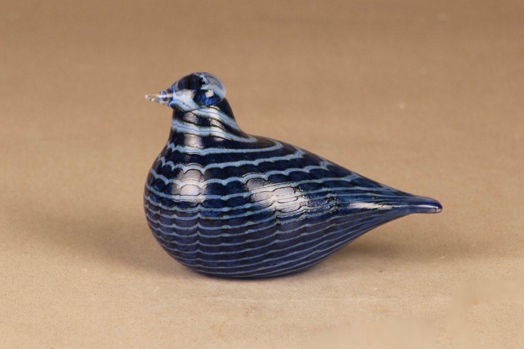 Nuutajärvi lintu , Sinisulka, suunnittelija Oiva Toikka, Sinisulka, signeerattu, filigraani