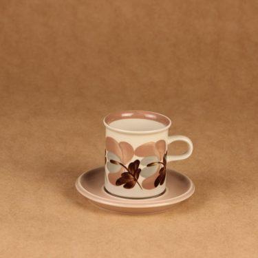 Arabia Koralli kahvikuppi, vaaleanpunainen, suunnittelija Raija Uosikkinen,