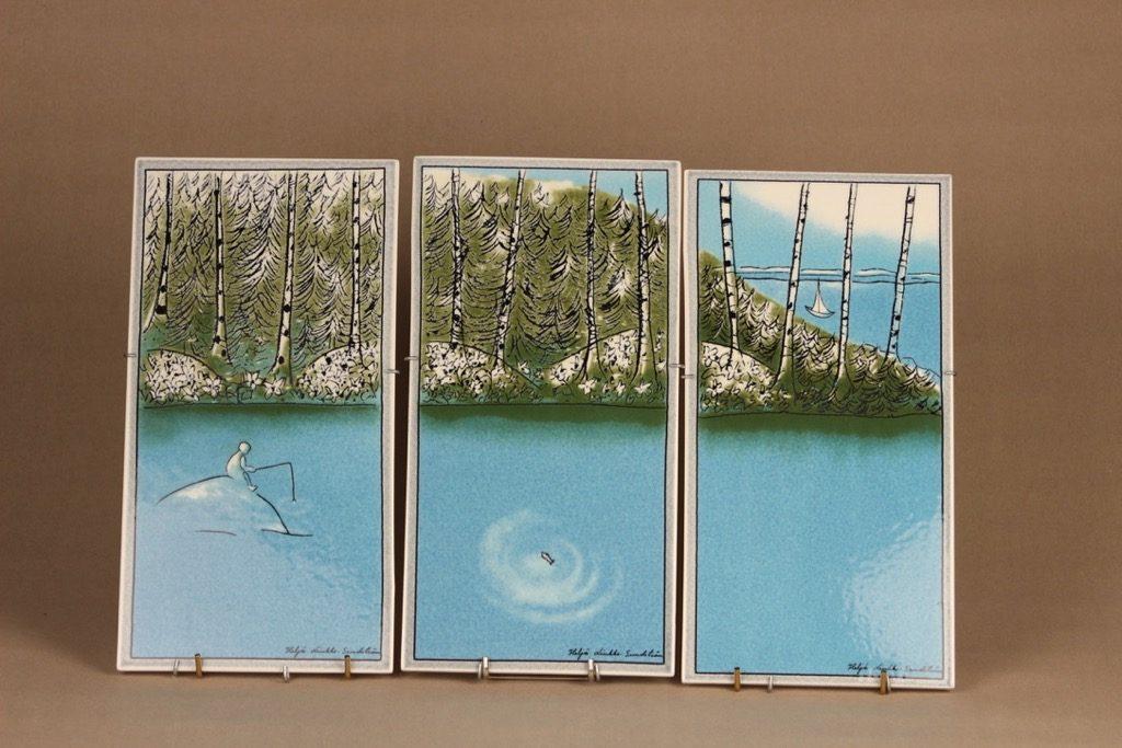 Arabia wall plate Human and nature triptych designer Heljä Liukko-Sundström