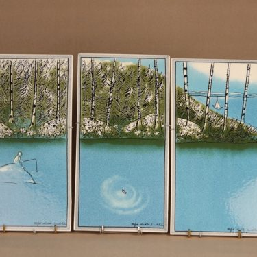 Arabia Ihminen ja Luonto seinätaulu, triptyykki, 3 kpl, suunnittelija Heljä Liukko-Sundström, triptyykki, 3-osainen, serikuva, tilaustyö