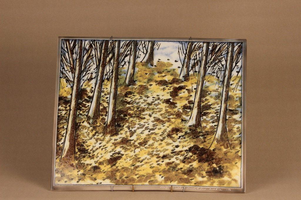 Arabia Kevät seinätaulu, signeerattu, suunnittelija Heljä Liukko-Sundström, signeerattu, serikuva, luonto