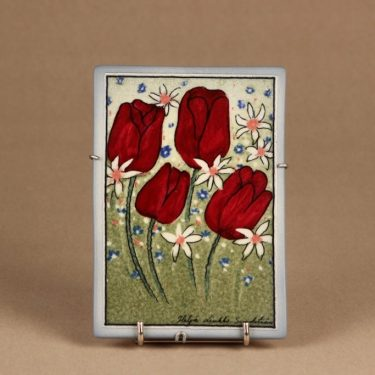 Arabia Täysin sydämin seinälaatta, suunnittelija Heljä Liukko-Sundström, serikuva, kukka