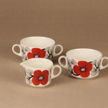 Arabia Isokukka sugar bowls (2) and creamer designer Esteri Tomula