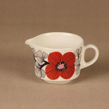 Arabia Isokukka sokerikot ja kermakko, punainen, suunnittelija Esteri Tomula, kukka, retro kuva 2
