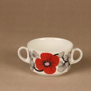 Arabia Isokukka sokerikot ja kermakko, punainen, suunnittelija Esteri Tomula, kukka, retro kuva 3