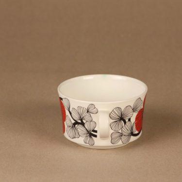 Arabia Isokukka sokerikot ja kermakko, punainen, suunnittelija Esteri Tomula, kukka, retro kuva 4