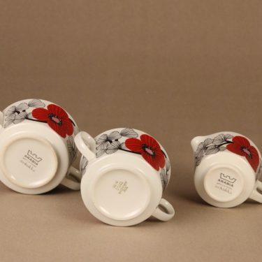 Arabia Isokukka sokerikot ja kermakko, punainen, suunnittelija Esteri Tomula, kukka, retro kuva 5