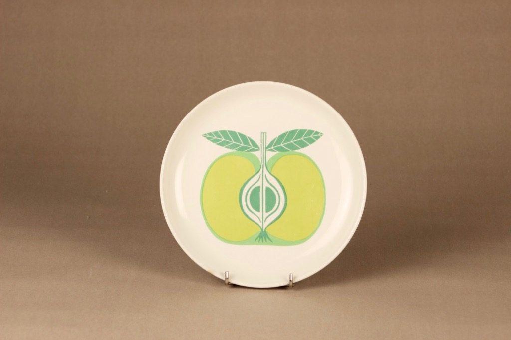 Arabia Pomona Omena lautanen, vihreä, suunnittelija Raija Uosikkinen, serikuva, omena