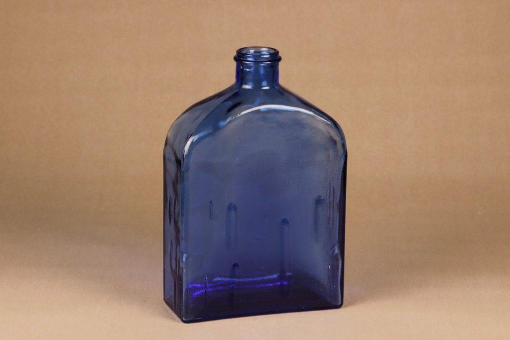 Riihimäen lasi Lankkupullo koristepullo, sininen, suunnittelija Helena Tynell, suuri