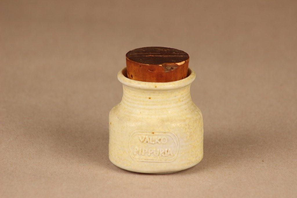 Arabia maustepurkki, Valkopippuria, suunnittelija Francesca Lindh, Valkopippuria, käsinmaalattu