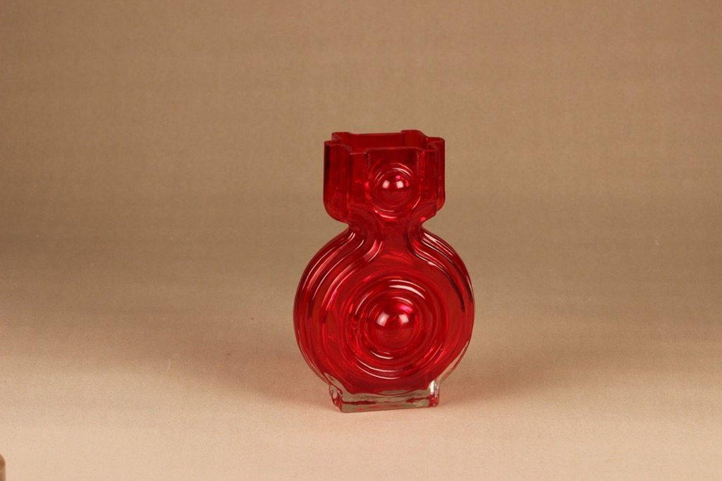 Riihimäen lasi Emma maljakko, punainen, suunnittelija Helena Tynell,