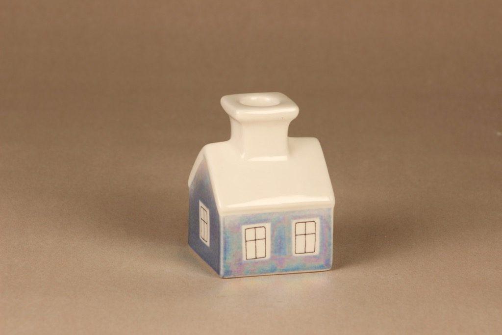 Arabia HLS candle holder house, blue designer Heljä Liukko-Sundström