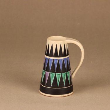 Kupittaan savi maljakko, käsinmaalattu, suunnittelija Orvokki Laine, käsinmaalattu, signeerattu, pieni