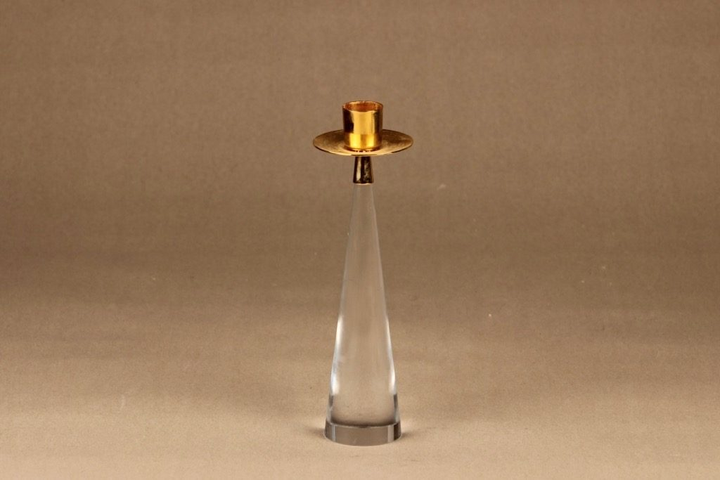 Iittala Ascot kynttilänjalka, kirkas, kulta, suunnittelija Timo Sarpaneva,