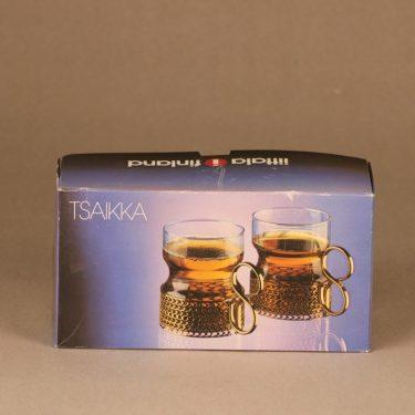 Iittala Tsaikka teemuki, 2 kpl, suunnittelija Timo Sarpaneva, 2 kpl, 23 cl, kultainen pidike
