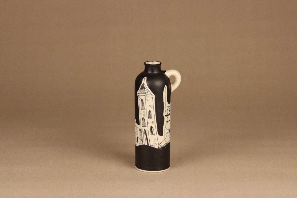 Kupittaan savi maljakko, käsinmaalattu, suunnittelija H.C. von Rumsolukin, käsinmaalattu, signeerattu